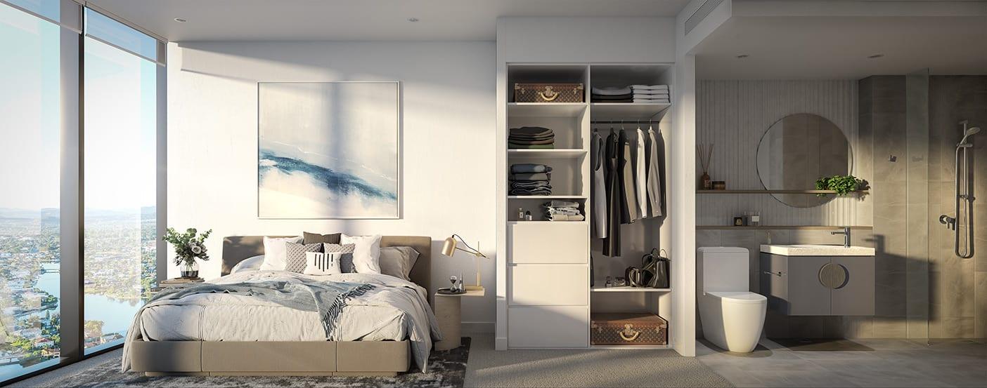 Interior bedroom and bathroom elevation