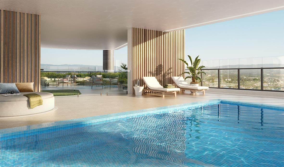 Exclusive residential amenities, including a pool, on level 20 & 21